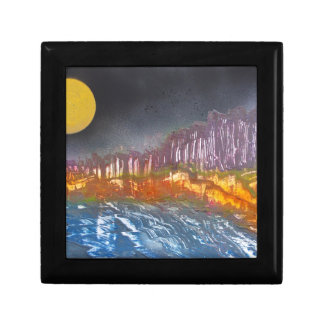 Yellow moon over metamorphic landscape gift box
