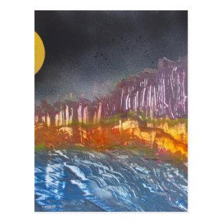 Yellow moon over metamorphic landscape postcard