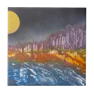 Yellow moon over metamorphic landscape small square tile