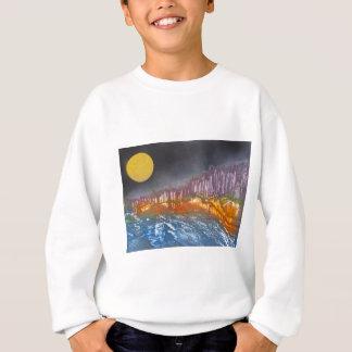 Yellow moon over metamorphic landscape sweatshirt