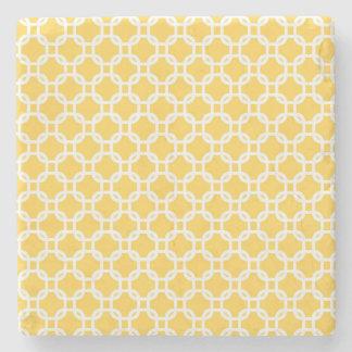 Yellow Moroccan Geometric Design Marble Stone Coaster