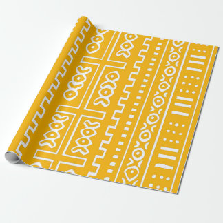 Yellow Mud Cloth Pattern Wrapping Paper