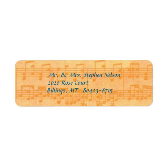 Yellow Music Notes of Staff Return Address Label