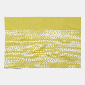 Yellow Mustard and White Dot Pattern Tea Towels