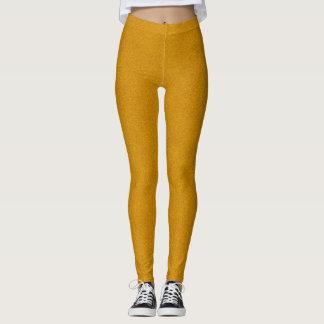 Yellow Mustard Custom Suede Leather Texture Leggings