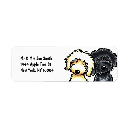 Yellow n Black Labradoodle Return Address Label