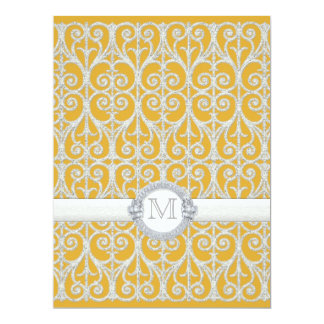 Yellow n Grey Diamonds & Lace, Monogrammed Wedding 17 Cm X 22 Cm Invitation Card