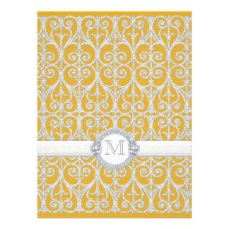 Yellow n Grey Diamonds Lace Monogrammed Wedding Personalized Invitation