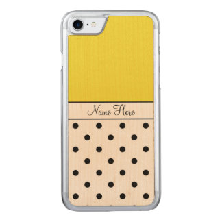 Yellow Name, Black Polka Dots Carved iPhone 8/7 Case