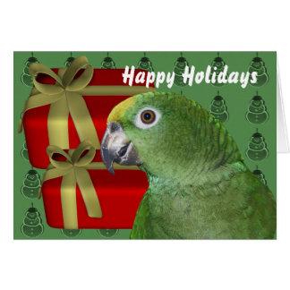 Yellow Naped Amazon Parrot Christmas Holiday Card
