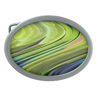 Yellow-Naped Amazon Parrot Feathers by STaylor Oval Belt Buckle