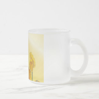 Yellow Narcissus Daffodil  Retro Vintage look Frosted Glass Coffee Mug