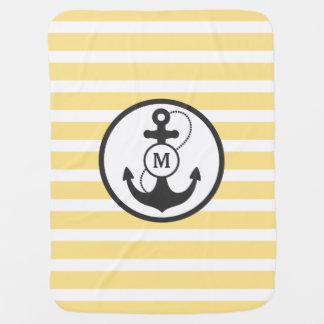 Yellow Nautical Anchor Monogram Baby Blanket