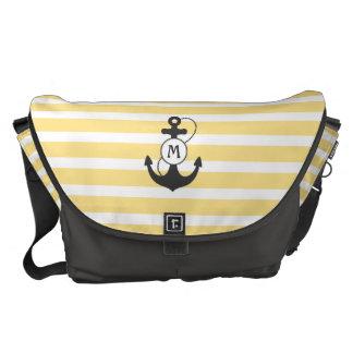 Yellow Nautical Anchor Monogram Commuter Bags