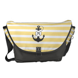 Yellow Nautical Anchor Monogram Courier Bag