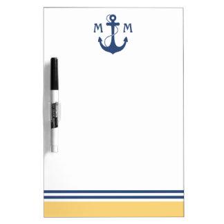 Yellow Nautical Monogram Dry Erase Board