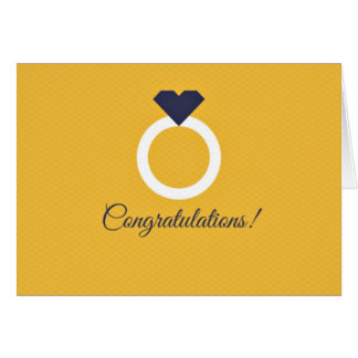 Yellow & Navy Blue Congratulations Engagement Card