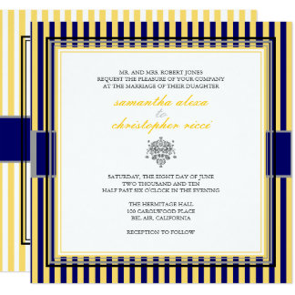 YELLOW+NAVY BLUE STRIPS WEDDING INVITATIONS