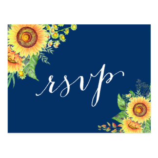 Yellow Navy Blue Sunflowers Rustic Wedding RSVP Postcard