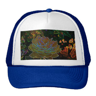 Yellow Neon Rose Mesh Hat
