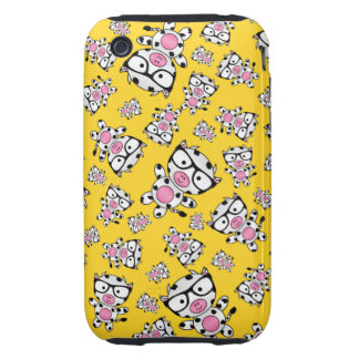 Yellow nerd cow pattern tough iPhone 3 cases