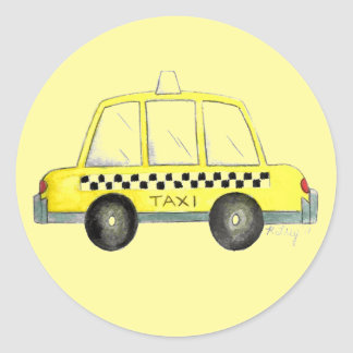 Yellow New York City NYC Taxi Checkered Cab Cabbie Classic Round Sticker