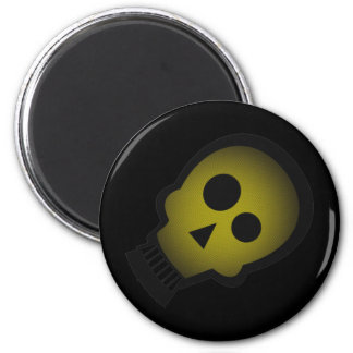 YELLOW NUTTY SKULL 6 CM ROUND MAGNET