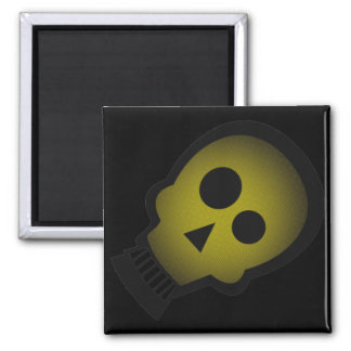 YELLOW NUTTY SKULL SQUARE MAGNET