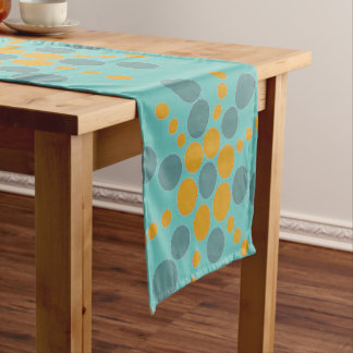 Yellow ochre and grey blue dotted stars on teal short table runner
