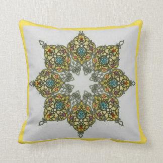 Yellow Octagonal Cushion Vegetal Pattern 1 (