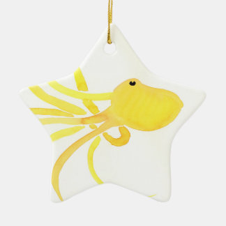 Yellow Octopus Ceramic Star Decoration