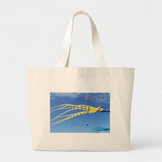 Yellow Octopus Kite Tote Bags
