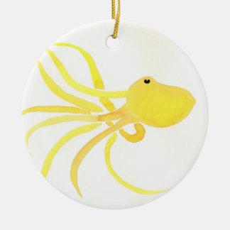 Yellow Octopus Round Ceramic Decoration