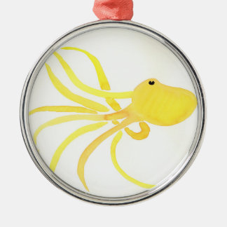 Yellow Octopus Silver-Colored Round Decoration