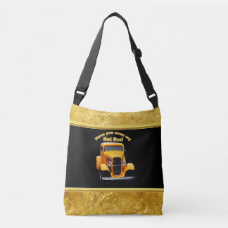 Yellow old roadster with gold black foill design crossbody bag