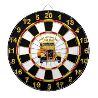 Yellow old roadster with gold black foill design dartboard