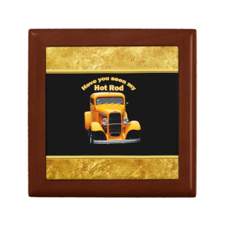 Yellow old roadster with gold black foill design gift box