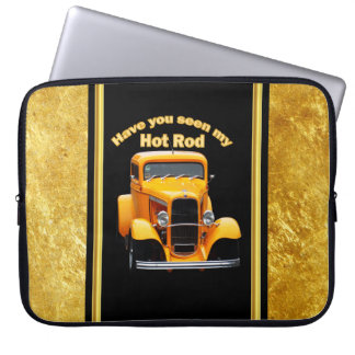Yellow old roadster with gold black foill design laptop sleeve
