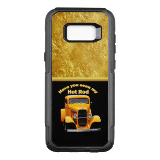 Yellow old roadster with gold black foill design OtterBox commuter samsung galaxy s8+ case