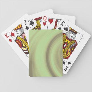 Yellow Olive Green Swirl Poker Deck