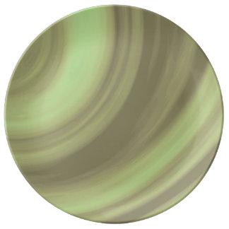 Yellow Olive Green Swirl Porcelain Plate