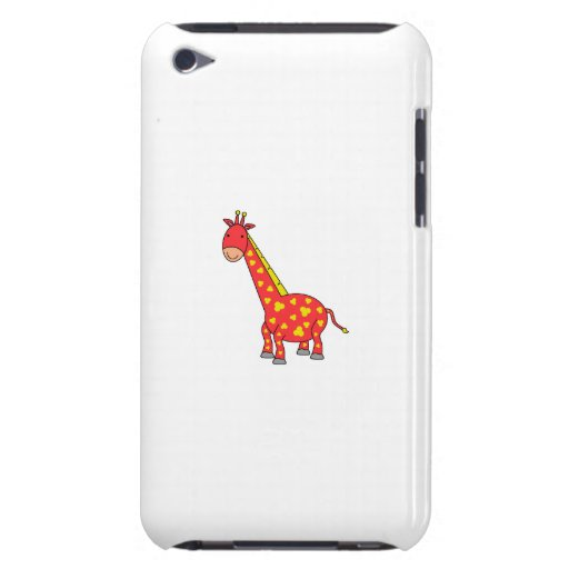 Yellow on red giraffe barely there iPod case