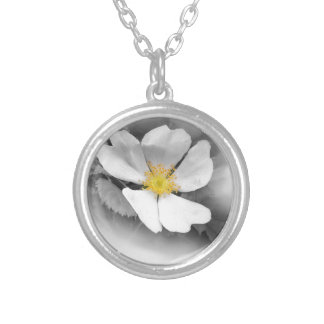 yellow on shades of gray silver plated necklace