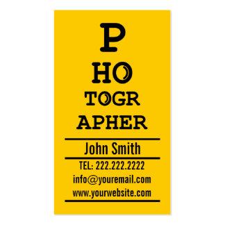 Yellow Optometrist photographer business card