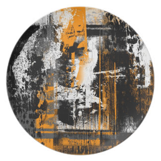 yellow orange abstract kline plate