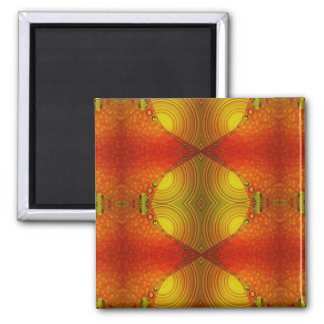 Yellow Orange Abstract Square Magnet