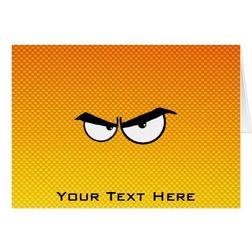 Yellow Orange Angry Eyes Greeting Cards