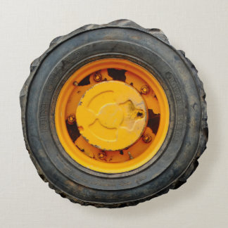yellow orange antique car flat tire round cushion