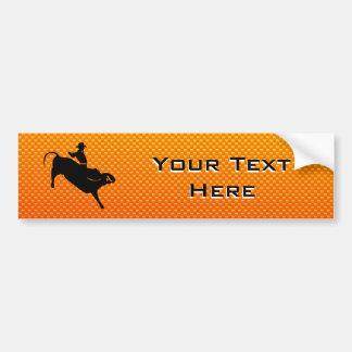 Yellow Orange Bull Riding Bumper Sticker