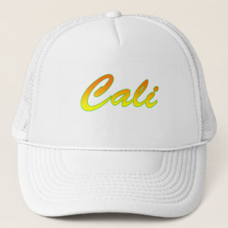 Yellow Orange Cali Text Logo Trucker Hat